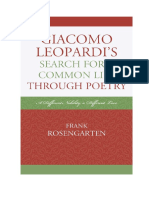 Giacomo Leopardi s Search for a Common Life Through Poetry a Different Nobility a Different Love