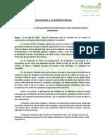 Comunicado de Prensa Profamilia 23 de Julio.