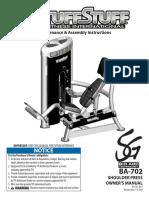 TuffStuff Bio-Arc Shoulder Press (BA-702) Owner's Manual