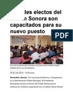 20-07-2018 Alcades Electos Del Pri en Sonora Son Capacitados Para Su Nuevo Puesto