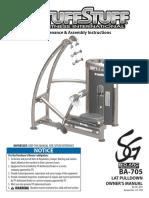 TuffStuff Bio-Arc Lat Pulldown (BA-705) Owner's Manual
