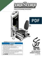 TuffStuff Bio-Arc Leg Extension (BA-707) Owner's Manual