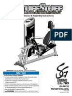 TuffStuff Bio-Arc Leg Press (BA-709) Owner's Manual
