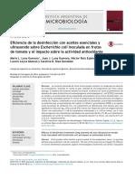 Eficiencia en Desinfeccion de Tomate Con Aceites Asenciales y Ultrasonido Sobre E Coli _Lun 2015