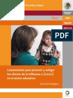 22. SEP. Lineamientos Para Prevenir y Mitigar Los Efectos de La in Uenza a (H1N1) en El Sector Educativo