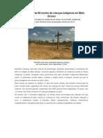 Relatório Aponta 60 Mortes de Crianças Indígenas Em Mato Grosso