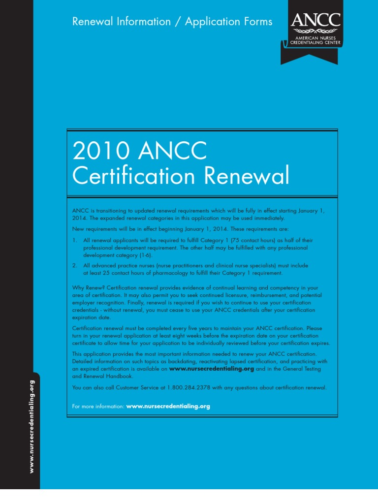 Ancc Application Amp Directions For Renewal Of Certification