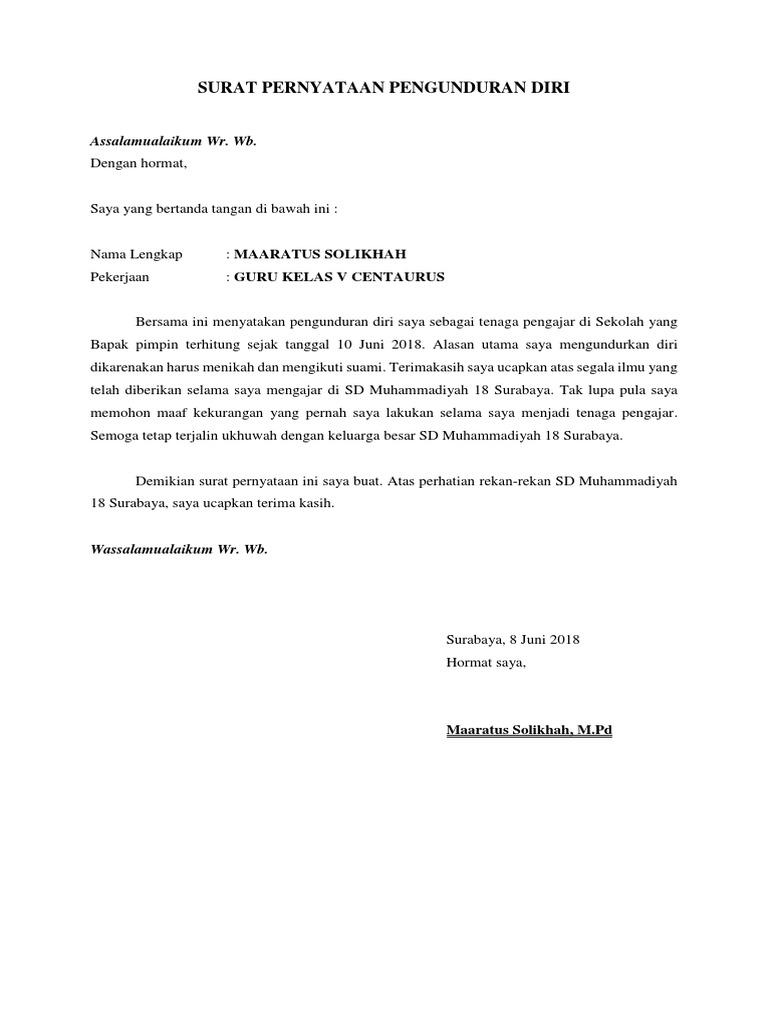contoh surat pengunduran diri untuk menikah