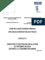 Fascicule 75_Concept Et Exécut Des Install de Trait Des Eaux