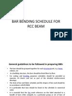 9. Bar Bending Schedule for RCC Beam
