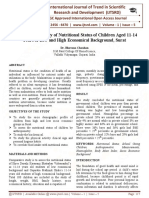 A Comparative Study of Nutritional Status of Children Aged 11-14 Years of Low and High Economical Background, Surat