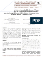 œA Pre Experimental Study to Assess the Effectiveness of Planned Teaching Program on the Knowledge Regarding Prevention of Anaemia Among Adolescent Girls in Selected Government Senior Secondary School'