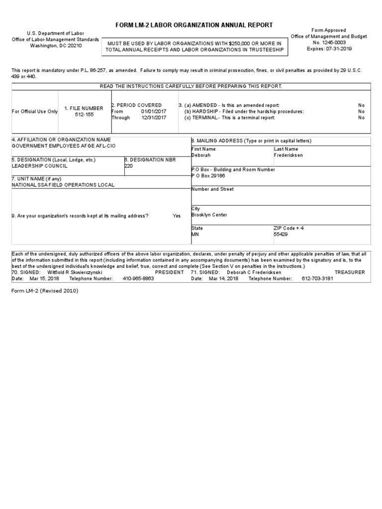 Local 220 Labor Organization Annual Report | Book Value | Loans