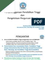 1. Penyelenggaraan Dikti Dan Pengelolaan PT