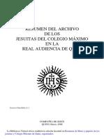Resumen Del Archivo de Los Jesuitas Del Colegio Maximo en La Real Audiencia de Quito