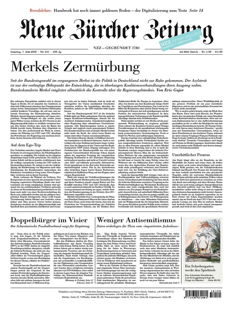 promo code 0cb24 32e88 Gesamtausgabe Neue Zürcher Zeitung 2018-07-07