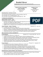 rachel glover resume 2018