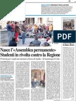 """Nasce l'""""Assemblea Permanente"""" Studenti in rivolta contro la Regione / I ricercatori mantengono la linea dura - Il Resto del Carlino del 30 settembre 2010"""