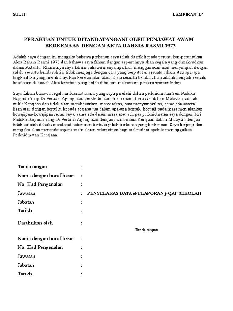 Borang Akta Rahsia Rasmi 1972 Lampiran Di Word