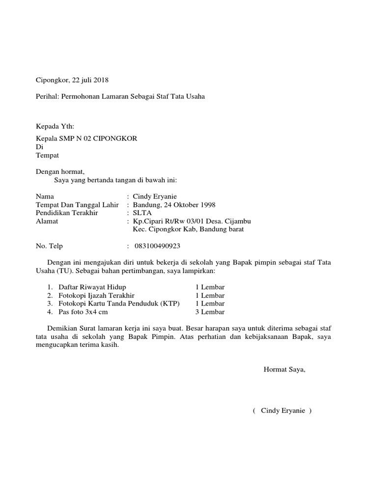 Contoh Surat Lamaran Kerja Guru Di Mts Id Lif Co Id