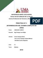 Informe Analisis de Examen de Orina
