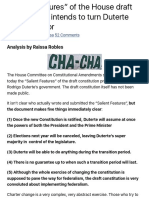 """""""Salient Features"""" of the House Draft Constitution Intends to Turn Duterte Into a Dictator"""
