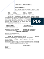 Deed of Sale of a Motor Vehicle Nilo