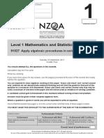 2017 Level 1 Mathematics and Statistics AS91027 CAT A