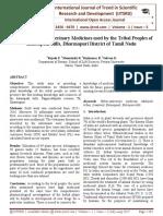 A Survey on Ethnoveterinary Medicines used by the Tribal Peoples of Kalasapadi Hills, Dharmapuri District of Tamil Nadu