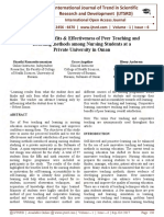 Perceived Benefits & Effectiveness of Peer Teaching and Learning methods among Nursing Students at a Private University in Oman