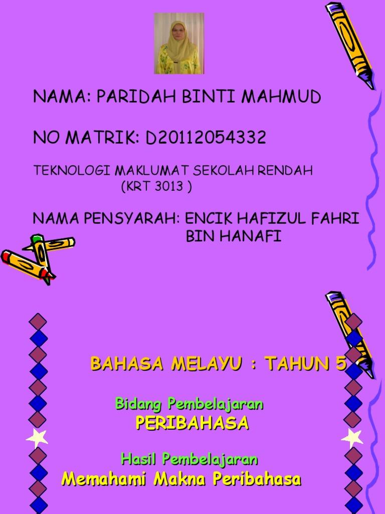Nama Paridah Binti Mahmud No Matrik D20112054332 Nama Pensyarah Encik Hafizul Fahri Bin Hanafi