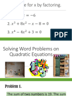 Solving Word Problems on Quadratic Equations