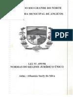 Lei Nº 499 1998 - Normas Do Regime Jurídico Único Dos Servidores Públicos Civis Da Prefeitura Municipal de Angicos (Estatuto)