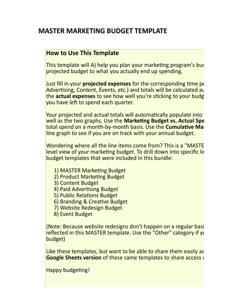 1 Master Marketing Budget Template Websites Marketing