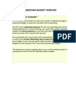 2) Product Marketing Budget Template