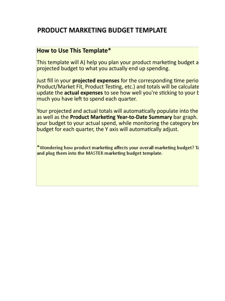 2 Product Marketing Budget Template Business Computing