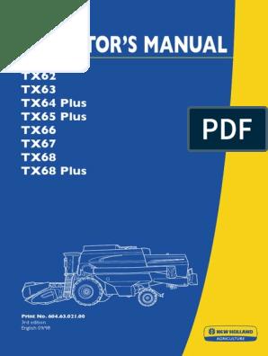 New Holland Tx34 combinar Manual del operador