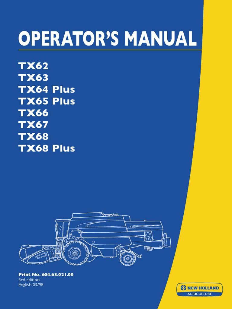 New Holland TX Operator Manual   Battery (Electricity)   Diesel Engine