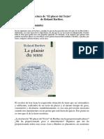 Simón Royo Hernández. Lectura de El Placer Del Texto de Roland Barthes.