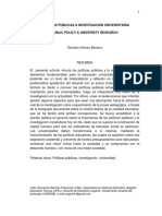 Politicas publicas & Investigacion universitaria