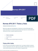 Normas APA 2017 Títulos y Listas