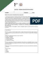 Evaluación PACE 1 - Producción Escrita