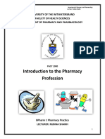 Introduction to the Pharmacy Profession Handout 2018