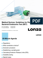 Lonza Webinars Webinar Presentation Medical Devices Guidelines for Performing the Bacterial Endotoxins Test BET 30012