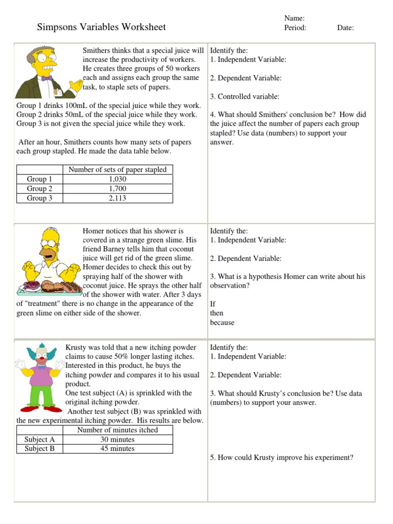 Worksheet Variables Simpsons | Bart Simpson | Dependent And ...