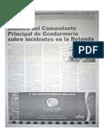 Balance del Comandante Principal de Gendarmería sobre incidentes en la Rotonda