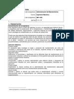 MIF-1304 Administración Del Mantenimiento