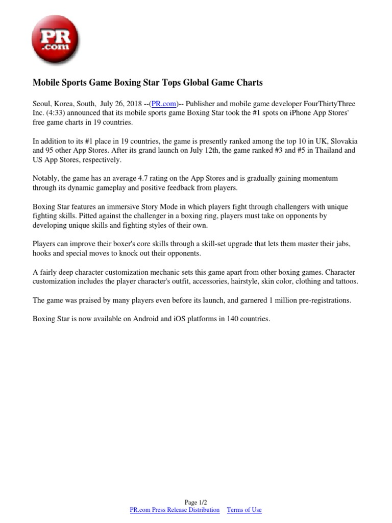 Mobile Sports Game Boxing Star Tops Global Game Charts | App Store