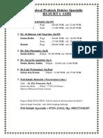 Jadwal Praktek Dokter Spesialis 20183