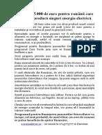 Ajutor de 5.000 de Euro Pentru Românii Care Vor Să-şi Producă Singuri Energia Electrică (Fotovoltaic)